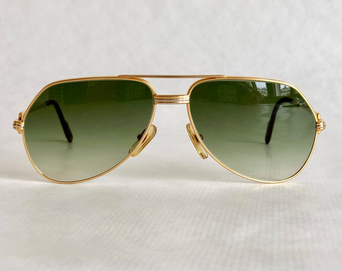 Cartier Vendôme Louis Cartier 22k Gold Vintage Sunglasses – Including Leather Soft Case