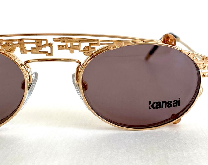 Vintage 1980s Kansai Yamamoto KY082E Clip-On Sunglasses – 22k Gold Plated – New Old Stock – Including Genuine Leather Softcase