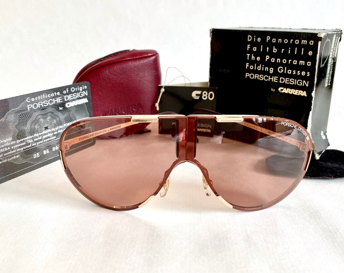Vintage Porsche Design by Carrera 5629 40 Folding Shield Sunglasses – Full Set – New Old Stock
