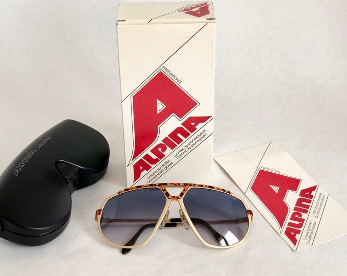 Alpina M1/8 24K Gold Vintage Sunglasses West Germany New Old Stock Full Set including Case, Box and Leaflet
