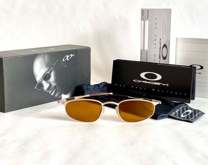 Michael Jordan's Vintage 2000 Oakley OO A Platinum Leather Gold Iridium Sunglasses – Full Set – New Old Stock