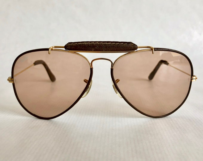 Ray-Ban Outdoorsman Leathers Ambermatic™ by Bausch & Lomb Vintage Sunglasses New Old Stock including Case