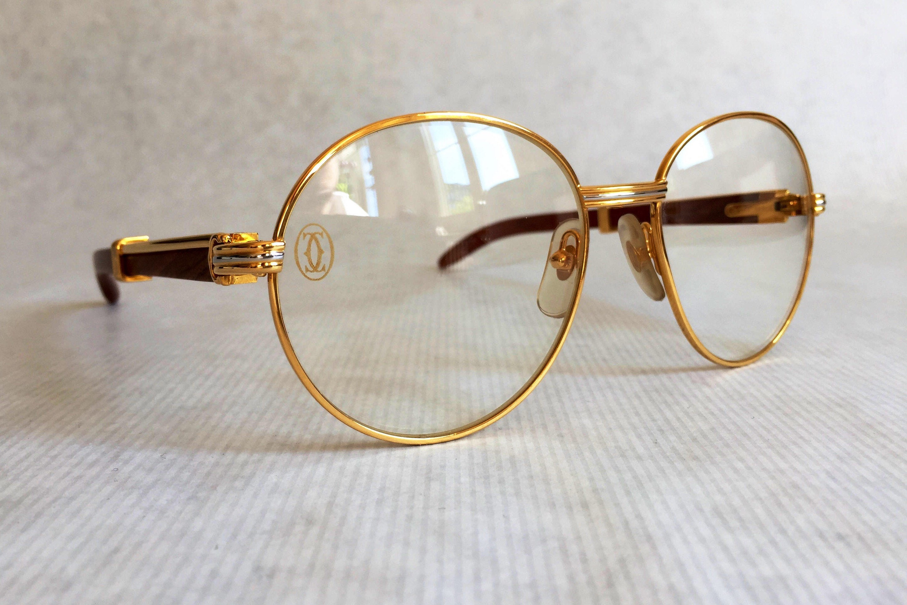 c7286d8aa8 Cartier Bagatelle Vintage Glasses Large 18kt Gold Plated New Old Stock Full  Set. gallery photo ...