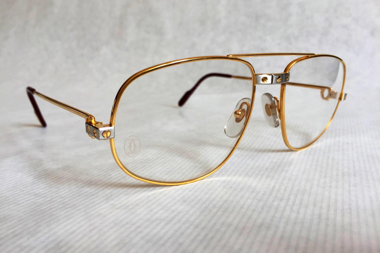 60457765a8e1 Cartier Romance Santos Vintage Glasses 18k Gold Plated including ...