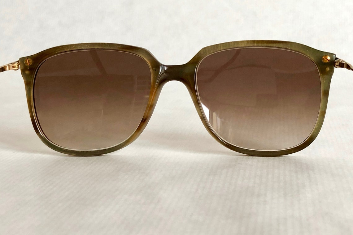 Nomis 18k Gold Genuine Horn Precious Wood and Leather Handmade Vintage Sunglasses New Old Stock