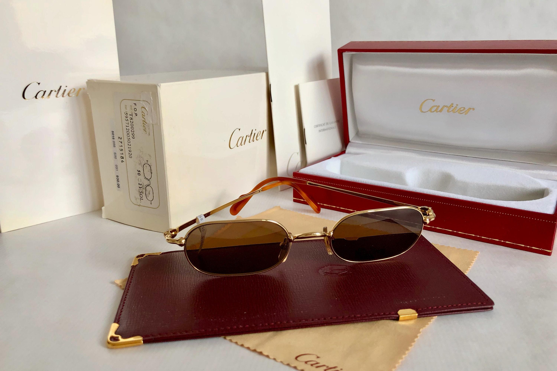 24cb9c8462d Cartier Deimos Trinity 22K Gold Vintage Sunglasses – Full Set – New Old  Stock. gallery photo ...