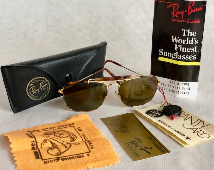 Ray-Ban Explorer Tortuga by Bausch & Lomb Vintage Sunglasses – New Old Stock – Full Set – Made in the USA