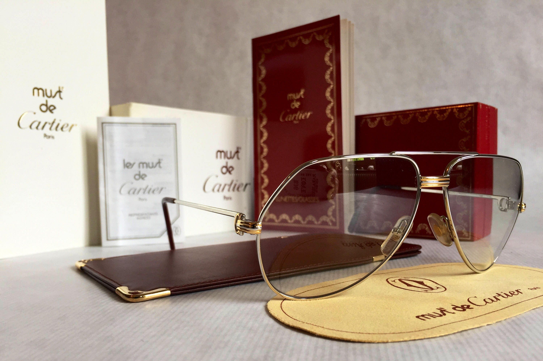 e393c69ed5cb8 1983 Cartier Vendôme Platinum Vintage Sunglasses Full Set New Old Stock.  gallery photo ...