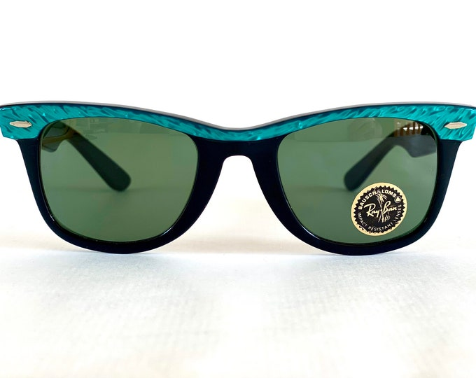 Vintage 1980s Ray-Ban by Bausch & Lomb WAYFARER Turquoise Marble Sunglasses – New Old Stock – Made in USA