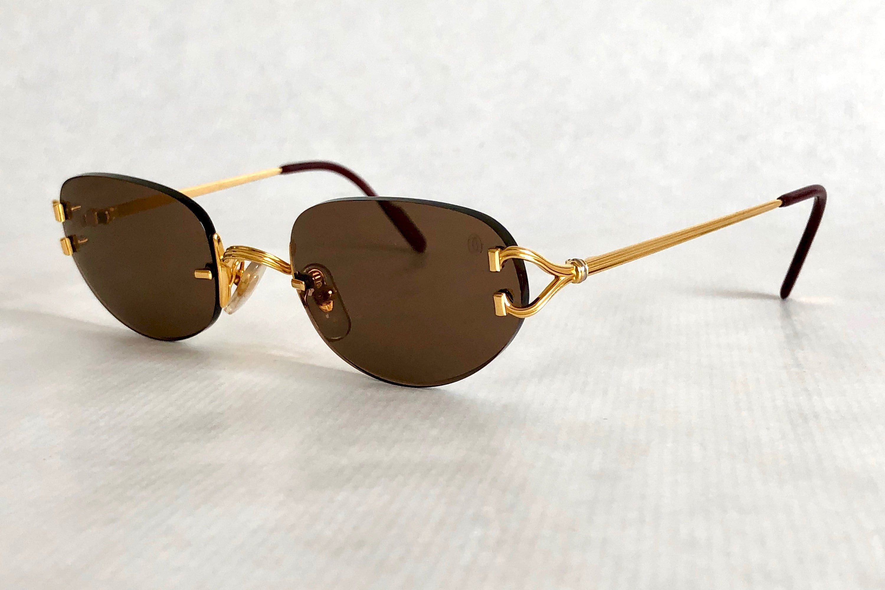 07864ad33bb Cartier Portofino 22K Gold Vintage Sunglasses – Full Set with 2 Cases ...