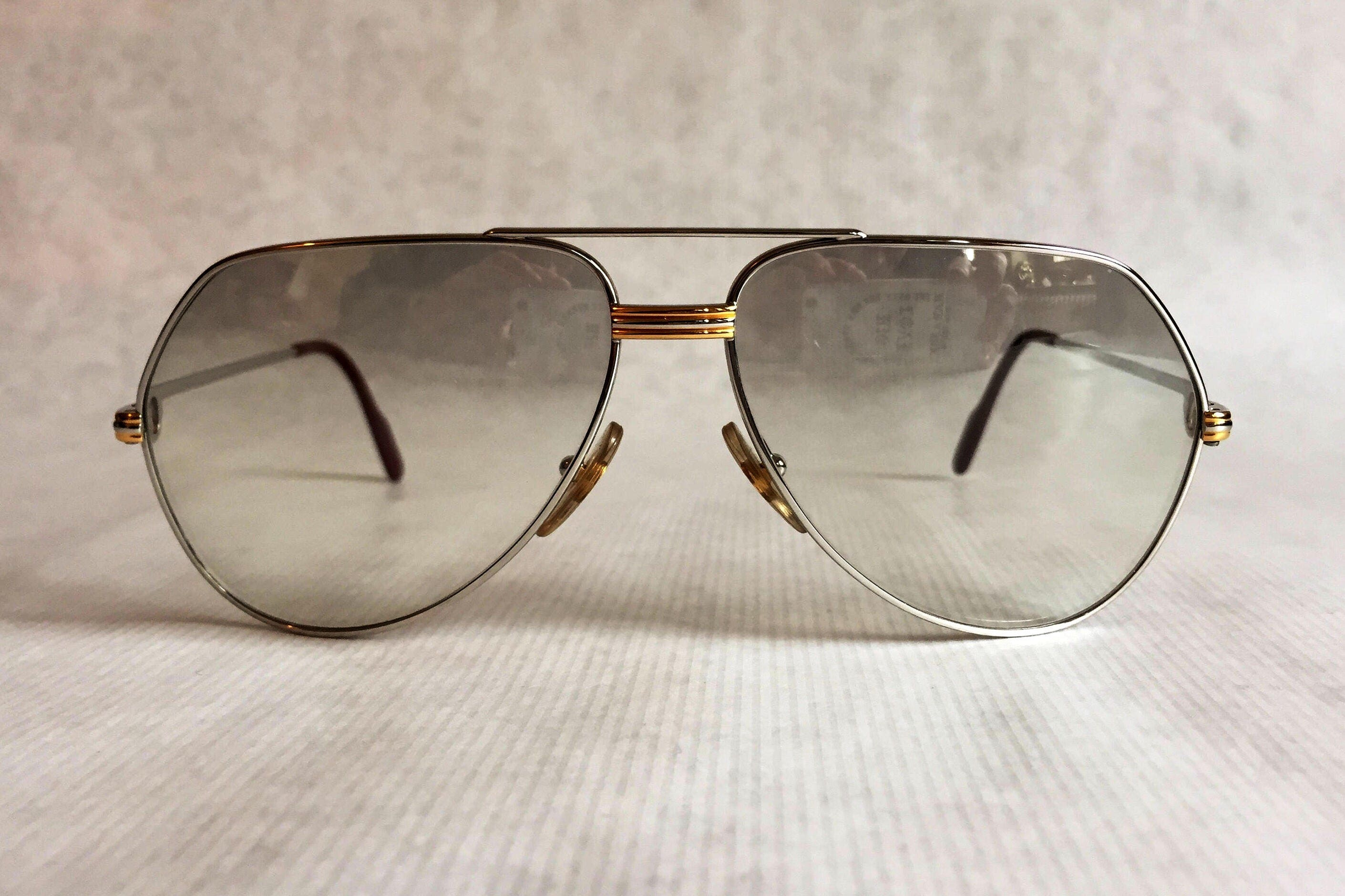 0a32686034 1983 Cartier Vendôme Platinum Vintage Sunglasses Full Set New Old Stock