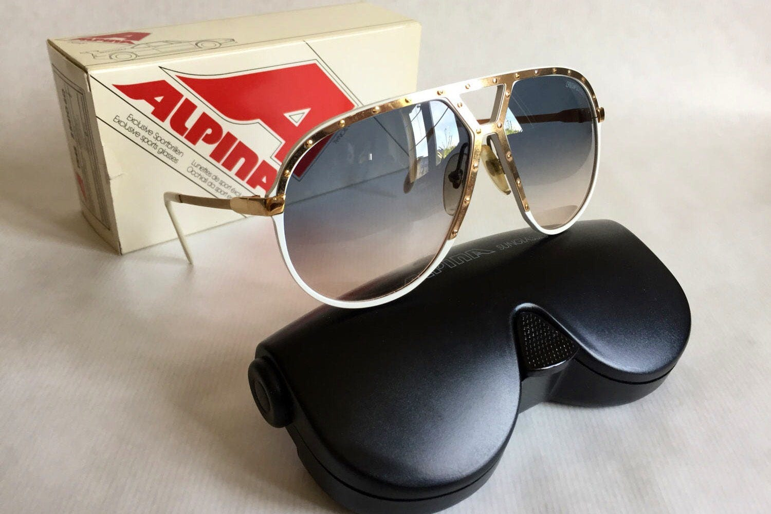 ca1068411b3d Alpina M1 Vintage Sunglasses 24K Gold West Germany New Old Stock including  Case & Box. gallery photo ...