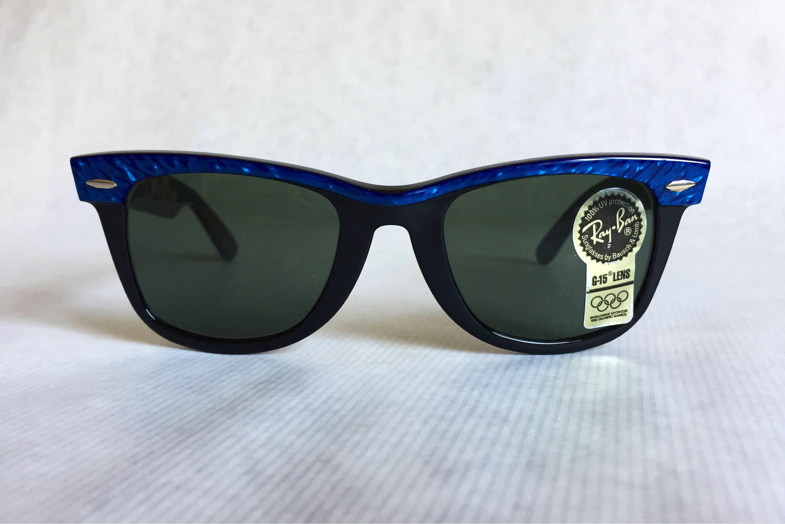 8987fc45e2d Ray-Ban by Bausch   Lomb WAYFARER Blue Marble Vintage Sunglasses New Old  Stock