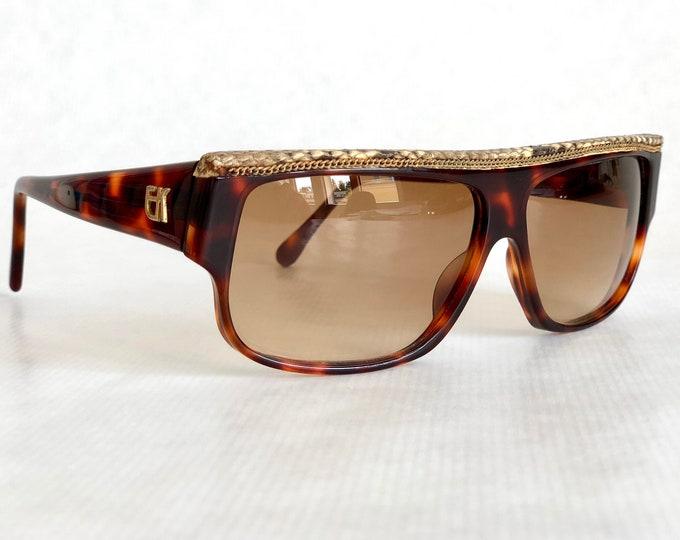 Emmanuelle Khanh 10640 Python Skin Gold Chain Vintage Sunglasses Made in France New Old Stock
