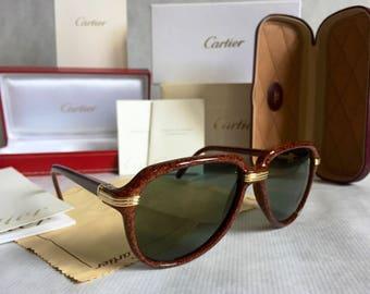 ef7e8a0eefdd Cartier Vitesse Vintage Sunglasses - Full Set including 2 Cases - New  Unworn Deadstock