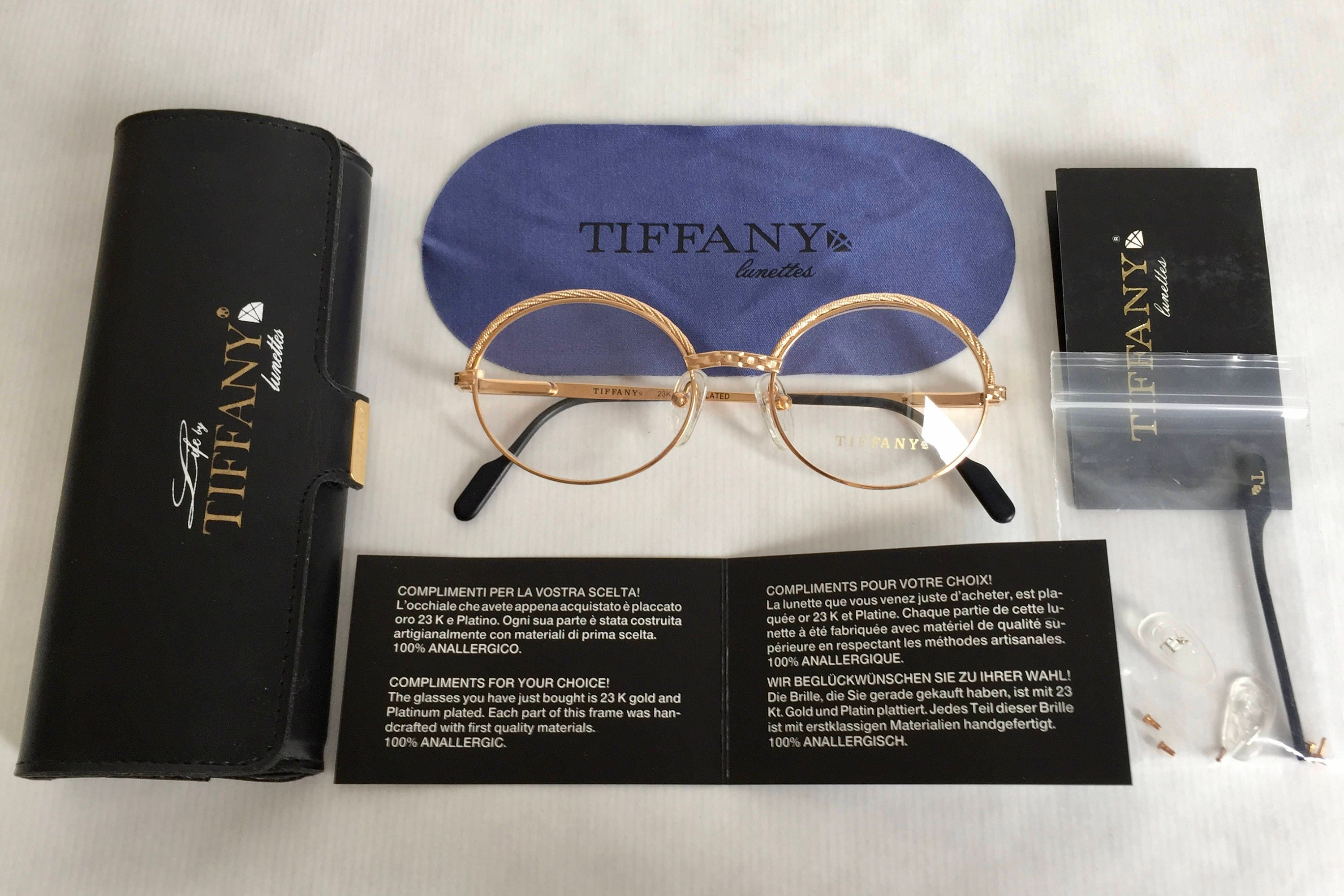 a38af006f93d Tiffany Lunettes T72 Vintage Glasses 23Kt Gold Plated - Full Set ...