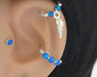 Silver Sea Shell Cartilage Hoop , Fire Blue Opal 2-3mm Helix Hoop, Upper Ear Piercing, 925 Silver Helix Ring,16G 18G 20G 22G , Summer Sale