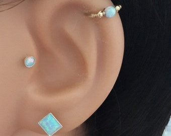 Helix Earring- Opal Cartilage Earring -Gold Filled Cartilage Hoop-Septum-Helix-Tragus-Opal Helix Hoop-16g 18g 20g 22g- Valentine's Day Gift