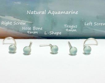 16g 18g 20g 22g Natural Aquamarine 3 mm Nose stud,Nose Screw, Nose Bone,L- Shaped, 925 Sterling Silver Tragus Stud, March's Birthstone
