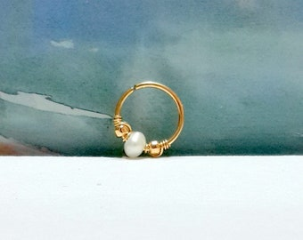14g White Pearl Conch Hoop-16g  Conch Earring- Conch Jewelry- Pearl Conch Ring-  Conch- Conch Piercing Jewelry-14g 16g 18g 20g 22g-Gift Idea