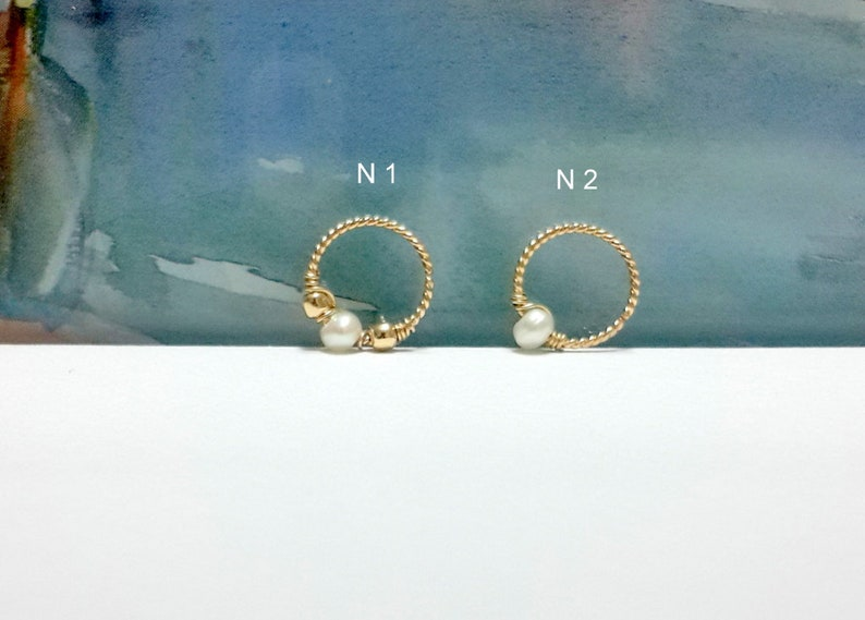 Helix,Tragus,Septum,Nose Ring,Not Plated or Filled,Handcrafted 16g 18g 20g 22g  14K Solid Yellow Gold Natural Stone Twisted Hoop,Cartilage