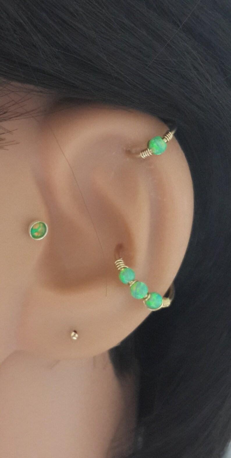 Fire Green Opal Conch Piercing Conch Earring Conch Jewelry Etsy