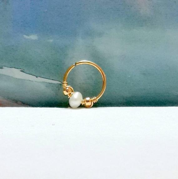 Opale blanc 2 mm helixring-or tragushoop-Argent Septum Ring-Octobre de Pierre de naissance