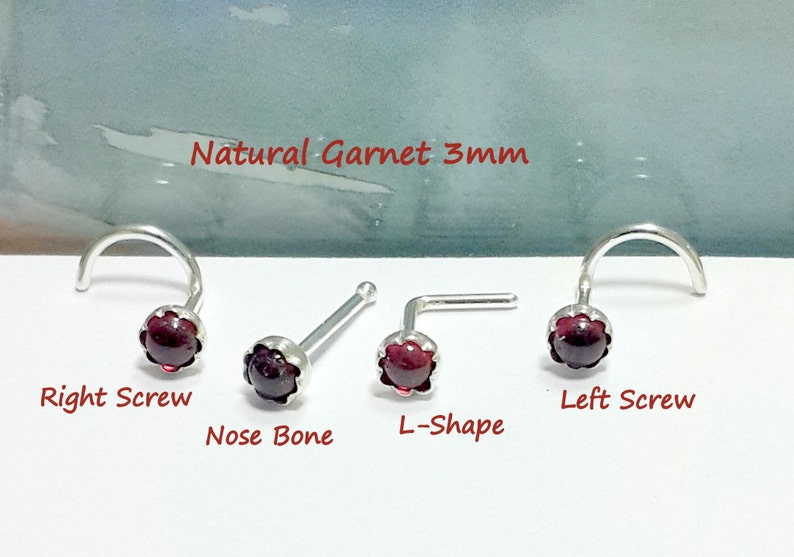 22g 20g 18g 16g Natural Garnet Nose Stud Nose Screw Nose Etsy