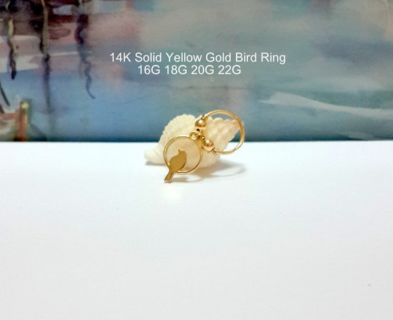 22G 20G 18G 16G 14K Solid Gold Emerald 2-3mm helix hoop-tragus-lobe-conch-daith-rook-nose ring-May/'s Birthstones-New Collection-Sammer Sale
