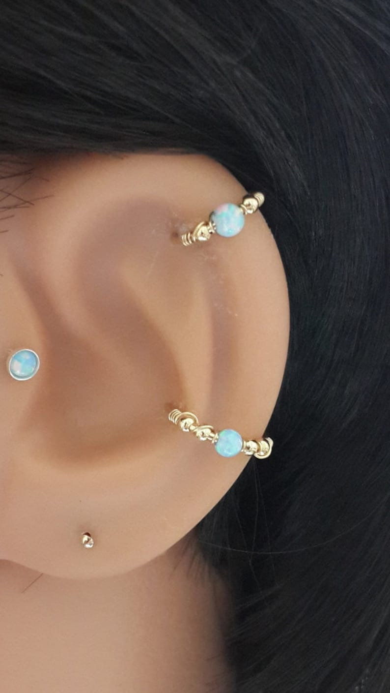 Light-Blue Opal conch piercinggold conch earringsilver conch image 0