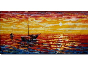 Large Oil Painting, Canvas Painting, Original Painting,  Abstract Painting, Seascape Painting, Sunrise Painting, Large Wall Art, Large Art