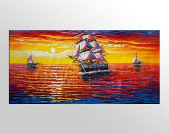 Large Oil Painting, Canvas Wall Art, Original Painting, Extra Large Art, Sail Boat Painting, Abstract Art, Wall Hanging, Seascape Painting