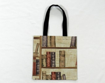 Book case book bag - Shopping bag - Tote bag - Lined fabric bag - Library bag - Book tote - Book lover - Shoulder bag - Book fabric bag