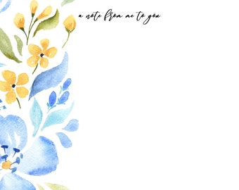 Notecard INSTANT DOWNLOAD Blue Floral Design (Stationary Gift - Floral Instant Download Notecard - Printable Gifts - Printable Stationary)
