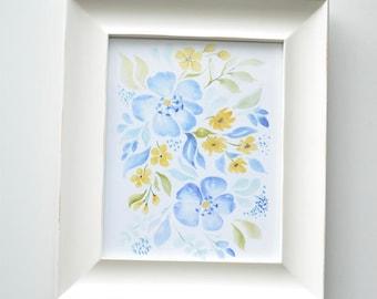 Blue Floral Art Print (Watercolor Illustration - Floral Art Print - Art - Home Decor - Wall Art - Farmhouse Decor)