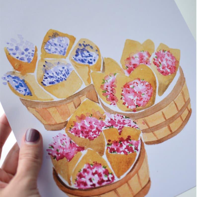 Flower Market Baskets Art Print Watercolor Illustration  image 0