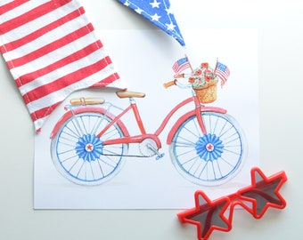 4th of July Bike Parade Art Print INSTANT DOWNLOAD (Independence Day- Red, White, Blue)