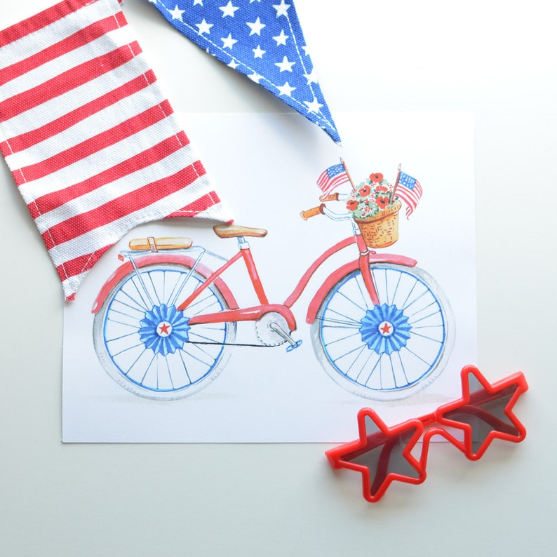 4th of July Bike Parade Art Print  Independence Day Red image 0