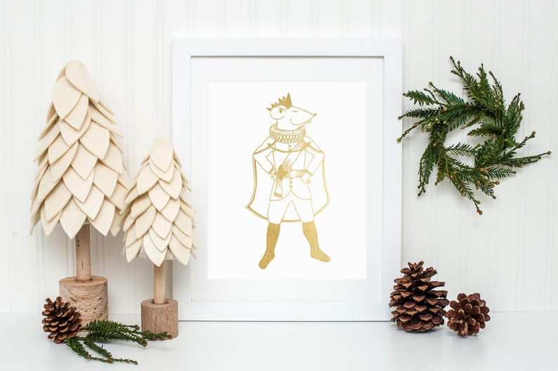 Gold Foil Mouse King from The Nutcracker Christmas Print 8x10 image 0