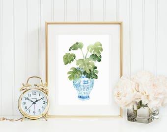 Palm Ginger Jar Art Print INSTANT DOWNLOAD (Blue and White Ginger Jar Art- Decorative Art Print - New Home Gift)
