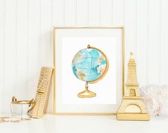 Globe Art Print INSTANT DOWNLOAD (Travel Art - Travel Decor - World Map Print - Wall Art)