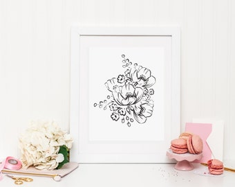 Black and White Floral Sketch