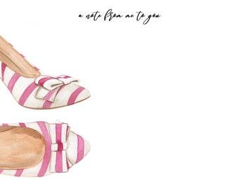 Notecard INSTANT DOWNLOAD Pink Shoe Design (Stationary Gift - Shoe Lover - Downloadable Notecard - Printable Gifts - Printable Stationary)