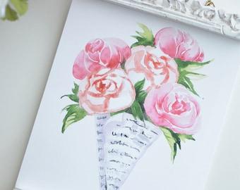 Flower Bouquet in Newspaper INSTANT DOWNLOAD (Watercolor Illustration - Floral Art Print - Art - Home Decor - Wall Art - Farmhouse Decor)