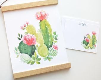 Cactus Floral Art Print INSTANT DOWNLOAD (Watercolor Illustration - Cactus Art Print - Art - Home Decor - Wall Art - Boho Decor)