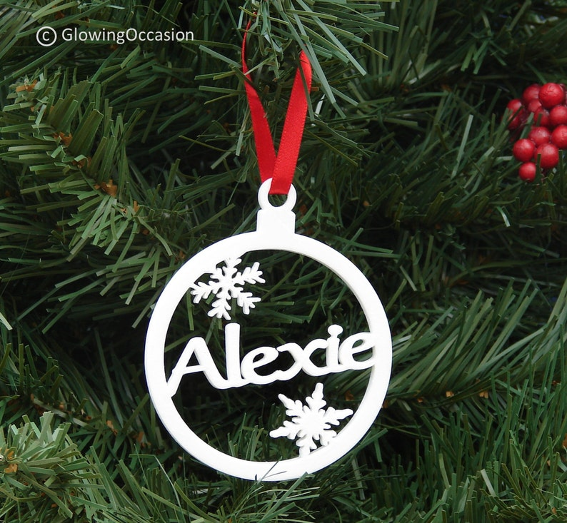 Personalised Bauble Christmas Tree Decoration With Snowflakes image 0