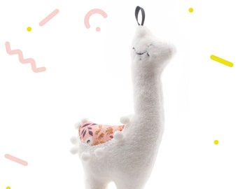 Stuffed animal,llama plush,with pink flowers fabric,original gift,for baby,for a Baby shower party,for christmas,baby room decor,11x4x21cm