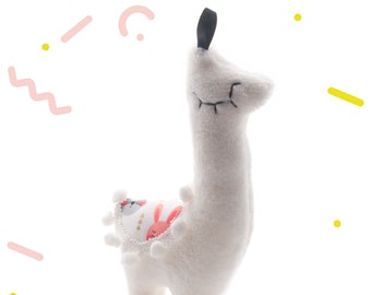 Stuffed animal,llama plush,white fabric with rabbits,original gift,for baby,Baby shower party,for christmas,baby room decor,11x4x21cm