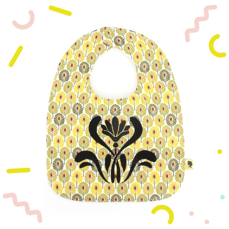Baby bib illustrated with an art deco flowerpeacock feathers image 0