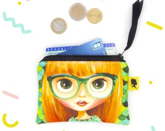 Coated cotton coin purse for women